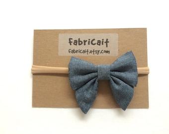 Chambray Bow Headband. Jean Bow. Light Denim Sailor Bow on Nylon Headband. Denim Bow. Headband bow. New Baby Girl Gift.