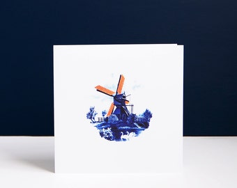 Pink Wafer Windmill greetings card: Delft Blue scenery with pink wafer biscuits, surreal food art, food art fun, biscuits forever collage