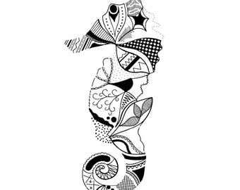 Patterned Seahorse Artwork Print from Original Drawing