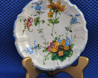 Pottery, Vintage Italian, Hand-painted, Floral Motiff