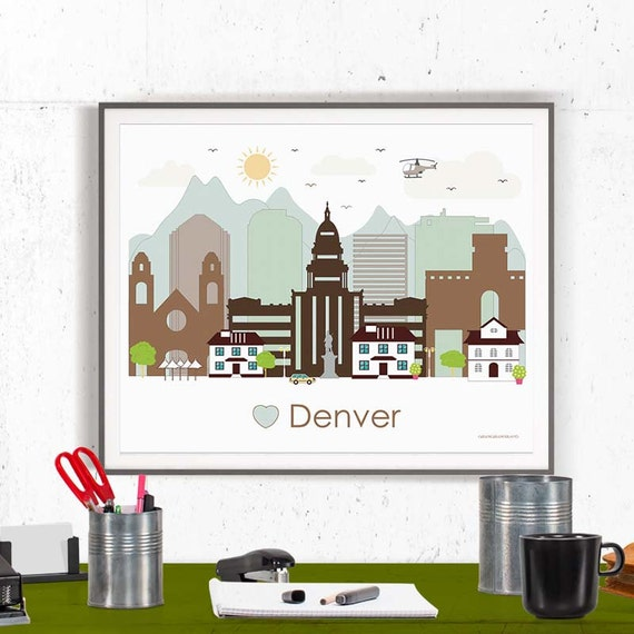 Denver Print Poster Wall Art Denver Colorado By