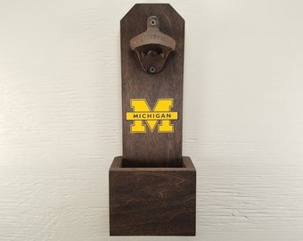 Wall Mounted Bottle Opener, University of Michigan, Wolverines, Bottle Cap Catcher, Football, U of M