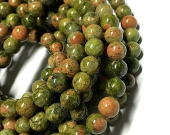 6mm Unakite Gemstone Beads - 15.5inch Full strand - Round Gemstone Beads
