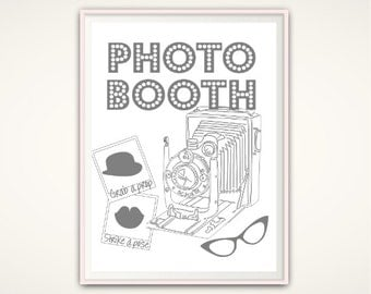 Photo Booth PRINTABLE - Photobooth sign, Wedding Photo Booth Sign, Grab A Prop, Photo Booth Wedding, Wedding Photobooth Prop, Poster, PDF