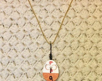 Upcycled Big Eyed Farm Hen Button necklace - Handmade wooden chicken button necklace  Black Wire on Gold chain - Chicken Button - Chicken