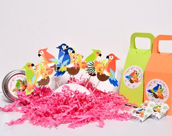 Hawaiian Cake Toppers, Hawaiian Baby Shower Decoration, Parrots Cake Toppers, Parrots Psittacines Cupcakes, Hawaiian Party Supplies