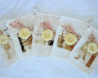 Muslin Wedding Favor Bags - French Inspired  Favor Bags - Music Theme Wedding Favor Bags - Favor Bags -12 Victorian Style Wedding Favor Bags