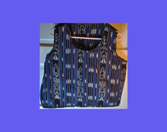 Blue ikat crop top from Guatemala