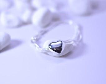 Heart Bracelet - Heart Friendship Bracelet - Heart Charm Bracelet - Silver Heart Bracelet - Sterling Silver Heart Bracelet