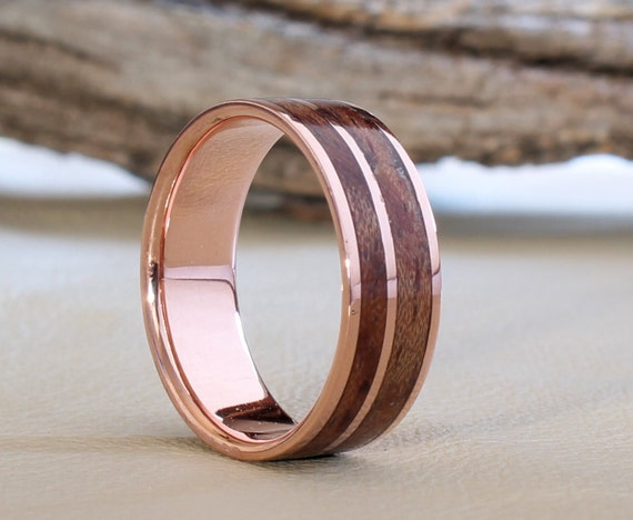 Items Similar To Copper Ring With Waterfall Bubinga Inlay
