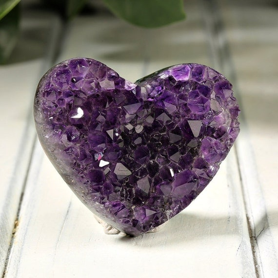 Green Amethyst Geode : Top amethyst geode heart with deep purple by pacificminerals