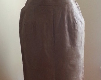 Brown Pockets Back Slit Leather Skirt