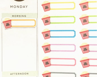 Movie Night Stickers, Binge Stickers, Reminder Stickers, Happy Planner Stickers, fit Erin Condren Planner, Cinema Stickers, Popcorn Stickers