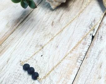 Essential oil diffuser necklace Lava rock diffuser necklace Lava bead necklace Minimalist necklace Aromatherapy necklace Lava rock necklace