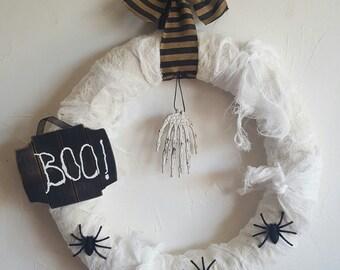 Handmade Halloween Boo! wreath