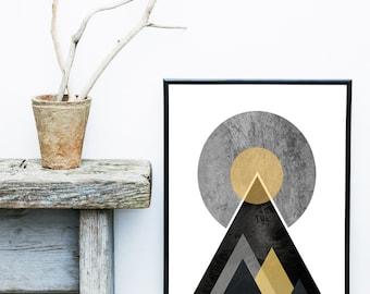 Minimalist Wall Art, Scandinavian Art, Geometric Print, Mountain Print, Modern Art, Giclee print, Wall Art, Home Decor, Wall Decor