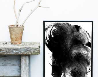 Black Abstract Art, Watercolor Print, Minimalist Art, Abstract Art Print, Modern Art,  Giclee print, Wall Art, Poster, Wall Decor
