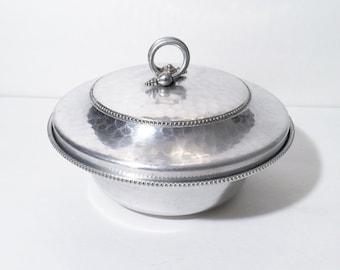 Vintage Aluminum Hammered BW Buenilum Serving Dish Bowl With Lid