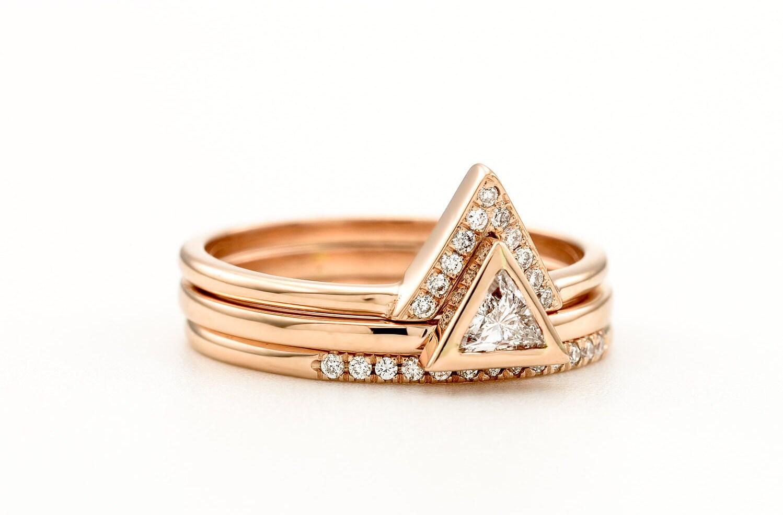 Triangle Diamond Engagement Ring Set Trillion 3 Rings