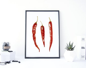 Chili Pepper Kitchen, Chili Pepper Decor, Kitchen Wall Art, Food Watercolor, Hot Peppers, Watercolor Paint, Kitchen Printable Art