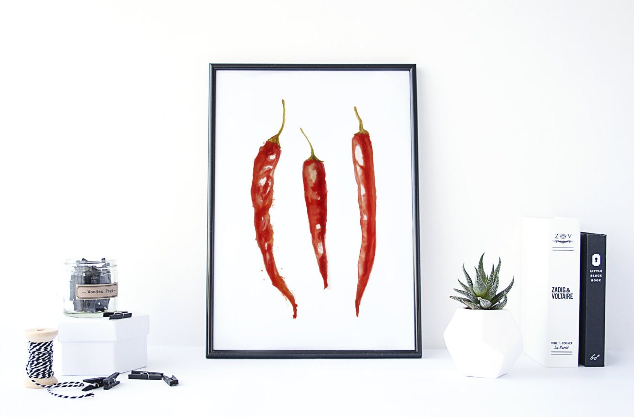 Chili Pepper Kitchen Chili Pepper Decor Kitchen Wall Art