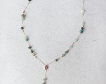 Dainty Beaded Y Necklace