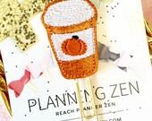 Glitter Pumpkin Spice Latte Coffee Cup Felt Planner Clip