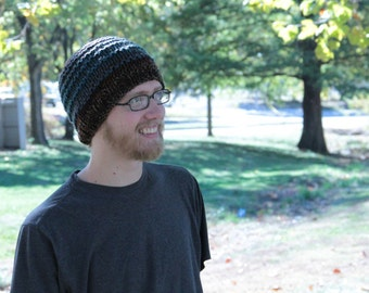 Blue Brown Stripe Knitted Hat