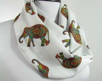 Elephant Scarf Infinity Scarf Animal Circle Scarf Elephant Print Scarf Spring Summer Fall Winter Fashion Christmas Gift For Her For Women