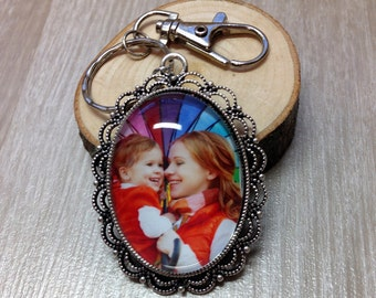 Custom Photo Keychain - Picture Keychain - Personalized Keychain - Photo Jewelry - Gift - Keepsake - Antique Lace Oval