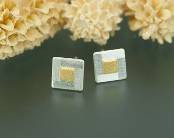 Silver earrings with fine gold squares