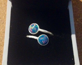 Blue Opal Double Stone Ring