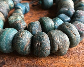 Hebron bead necklace, long strand of wonderful, blue green, very old beads