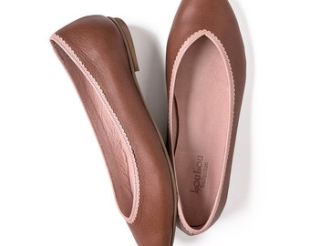 Brown flats, Brown shoes, Brown ballerina shoes, Brown leather shoes, Bridesmaid shoes, Flats, Ballet shoes, Brown Ballet flats, ballerinas