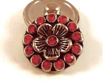 18mm Silver Flower Snap Charm with Red Crystals