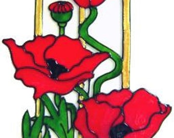 Elegant Poppy Frame Handpainted Window Cling - get the look of stained glass  (Ref 1105)