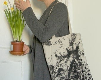Linen bag - Black pattern - Fabric with pattern