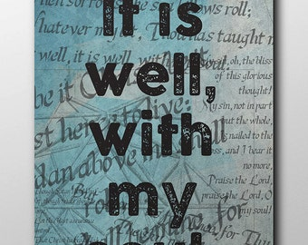 It is well 16x20 typography quote print, Printable art wall decor, Quote poster, Instant download