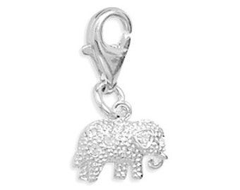 Crystal Elephant Charm with Lobster Clasp