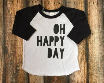 Oh Happy Day; Hipster Kids Tee; Cool Kid Clothes; Graphic Tee; Baseball Tee; Kid Shirts