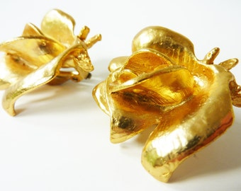 Vintage Gold Rose Statement Earrings 1950s