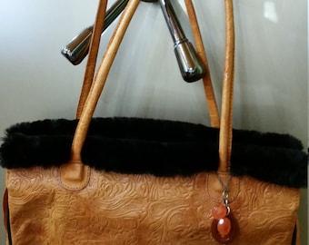 Genuine Leather purse, Beaver fur trim, Carnelian bobble