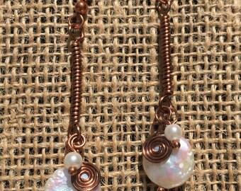 Copper and Pearl Earrings, Copper Earrings, Pearl Earrings, Bridal Earrings, Wire-wrapped Earrings, Pearl Gifts, Freshwater Pearl Earrings