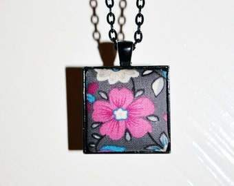 Pink Flower Fabric Pendant Necklace