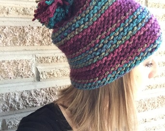 Slouchy Hat// Knit// Gifts for Her//Women's//Winter Wear//Multicolored