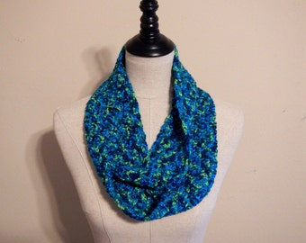 Bright Turquoise Infinity Scarf | Green Blue Scarf | Soft Crochet Scarf