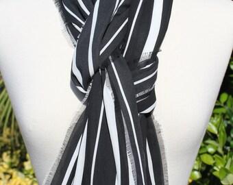 Black and White Stripe Chiffon Lightweight Scarf