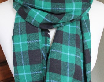 Plaid Flannel Green and Black Scarf
