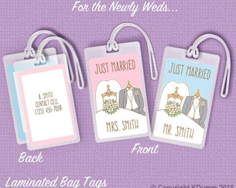 Honeymoon Luggage Tags Personalized Wedding Bag Tags for the Bride and Groom Gifts
