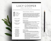 Minimal Resume Template for Word | CV Template | Professional Resume Design | Two Page Resume, Cover Letter, Icon Set | Instant Download